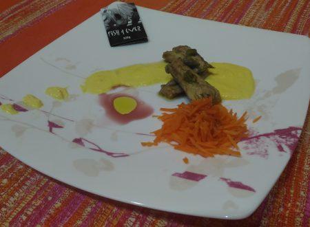 Filetti di sgombro su salsa all'arancia e cruditè di carote!!!