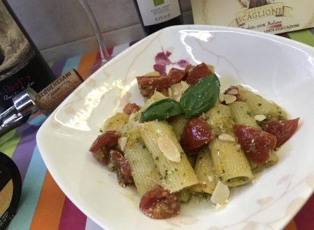 Pasta con pesto, pomodorini e mandorle!!!